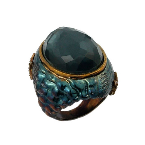 SIGNATURE AUTHENTICO HEMATITE OVAL FACETED DEMIQUARTZ DOUBLET RING WITH SIGNITY CZ ACCENTS