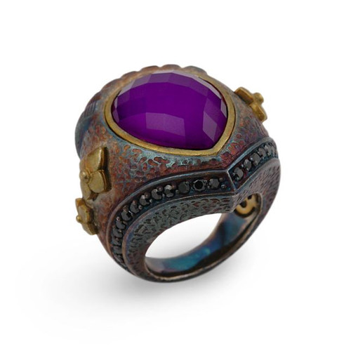 SIGNATURE AUTHENTICO SUGILITE TEARDROP FACETED DEMIQUARTZ DOUBLET RING WITH BRASS AND SIGNITY CZ ACCENTS