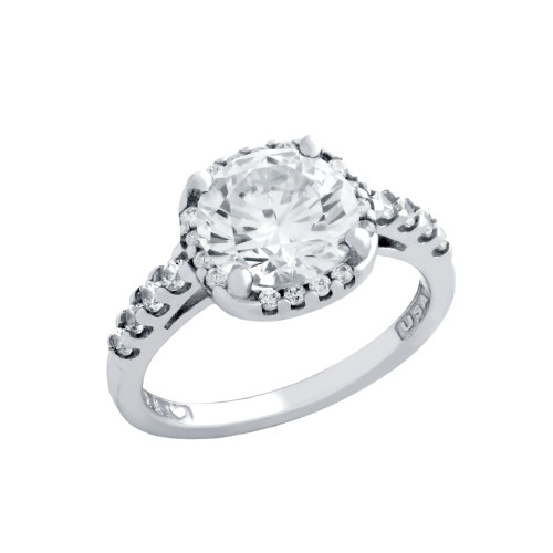 RHODIUM PLATED SQUARE CZ ENGAGEMENT RING WITH 8 CZS ON BAND