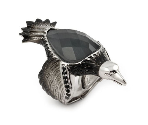 SIGNATURE AUTHENTICO HEMATITE SMOKEY QUARTZ FACETED DOUBLET EAGLE RING WITH SIGNITY CZ ACCENT