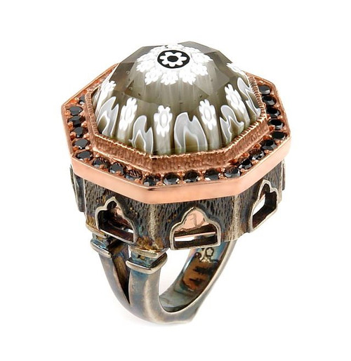 SIGNATURE COLLECTION FACETED BLK/WHT MURANO GLASS OCTAGON RING WITH COPPER AND SIGNITY CZ ACCENTS