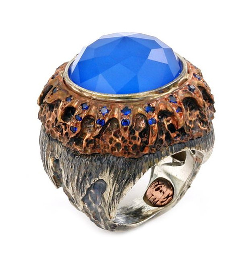SIGNATURE AUTHENTICO BLUE AGATE ROUND FACETED DEMIQUARTZ DOUBLET COPPER AND SIGNITY CZ