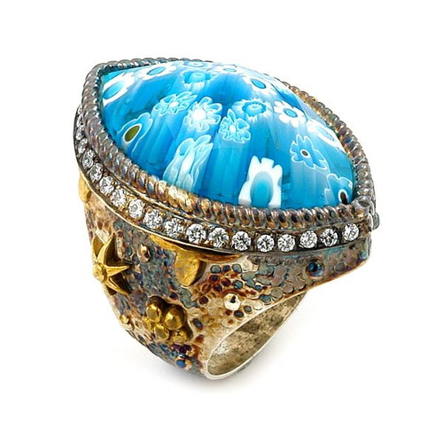 SIGNATURE COLLECTION FACETED BLUE MURANO GLASS MARQUISE RING WITH COPPER AND SIGNITY CZ ACCENTS