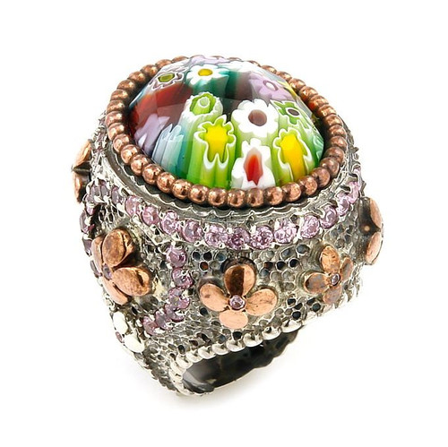 SIGNATURE COLLECTION FACETED MLT MURANO GLASS OVAL RING WITH COPPER AND SIGNITY LAVENDER CZ ACCENTS