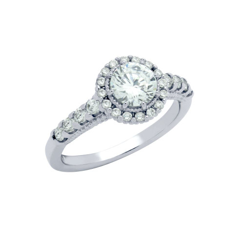 RHODIUM PLATED ROUND CZ STUDDED DOME ENGAGEMENT RING