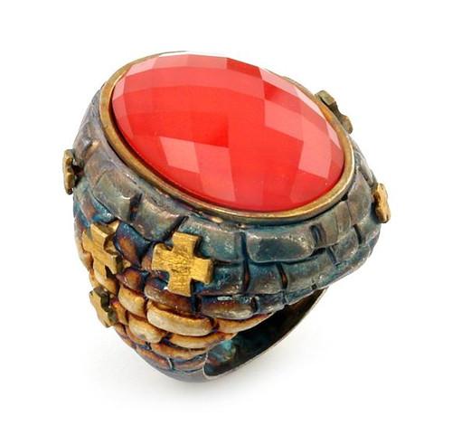 SIGNATURE AUTHENTICO RED QUARTZ FACETED DEMIQUARTZ DOUBLET RING WITH BRASS ACCENTS