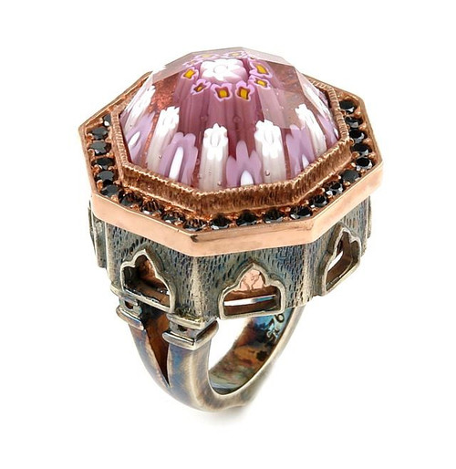 SIGNATURE COLLECTION FACETED PINK MURANO GLASS OCTAGON RING WITH COPPER AND SIGNITY CZ ACCENTS