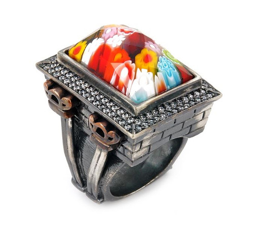 SIGNATURE COLLECTION FACETED MLT MURANO GLASS RECTANGLE RING W/ COPPER AND SIGNITY CZ ACCENTS