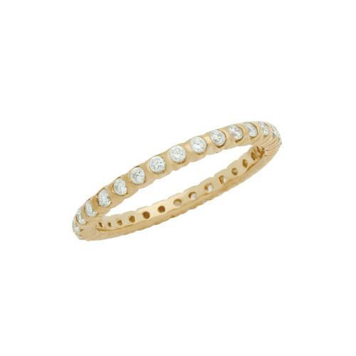 ROSE GOLD PLATED XO CIRCULAR DESIGN CZ WEDDING BAND RING