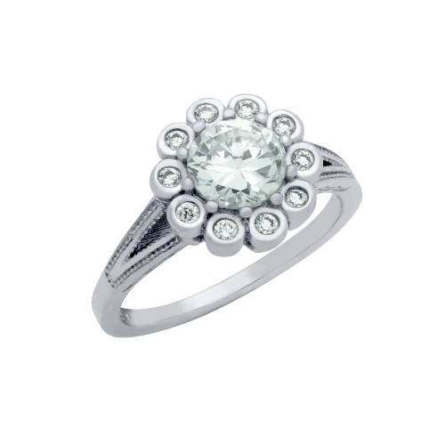 RHODIUM PLATED ROUND FLORAL DESIGN CZ ENGAGEMENT RING