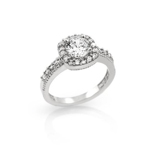 RHODIUM PLATED SQUARE STYLE ROUND CZ ENGAGEMENT RING