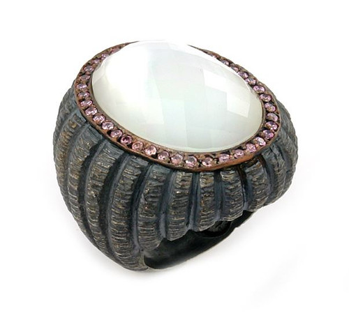 SIGNATURE AUTHENTICO MOTHER OF PEARL OVAL FACETED DEMIQUARTZ DOUBLET RING WITH COPPER AND SIGNITY CZ