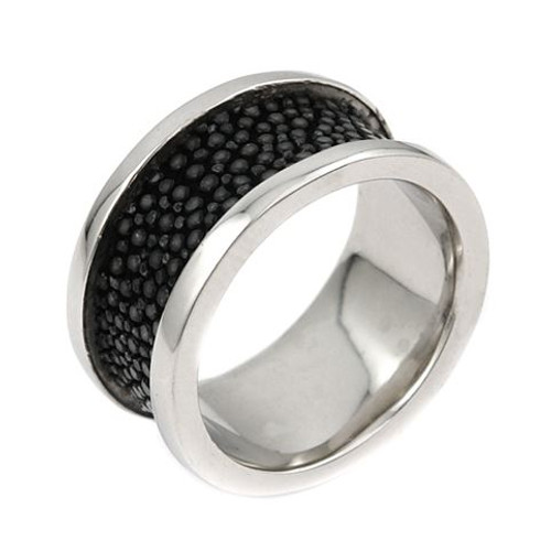 MENS HEMATITE STINGRAY LEATHER BAND RING