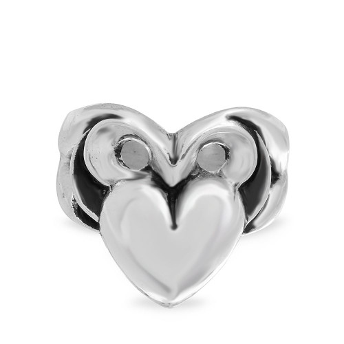 TWISTED BLADE SILVER ORNATE HEART RING