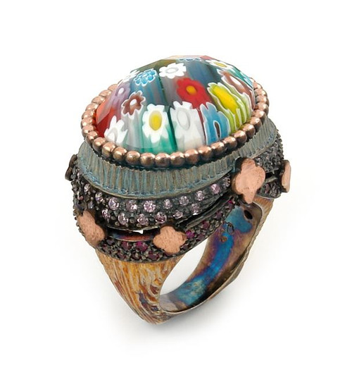 SIGNATURE COLLECTION FACETED MLT MURANO GLASS OVAL RING WITH COPPER AND SIGNITY CZ ACCENTS