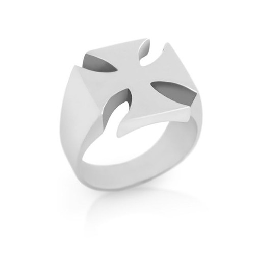 STERLING SILVER MENS MALTESE CROSS RING