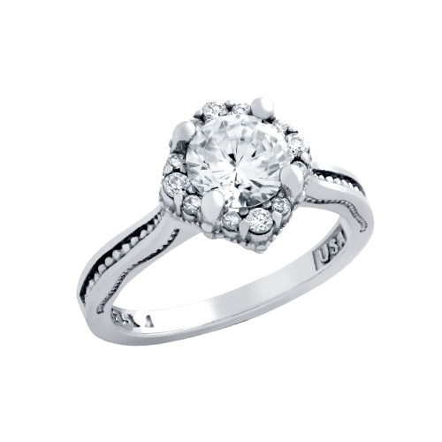 RHODIUM PLATED ROUND CZ STAR SHAPE ENGAGEMENT RING