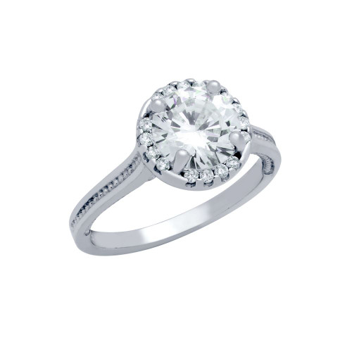 RHODIUM PLATED ROUND CZ STUDDED DESIGN ENGAGEMENT RING
