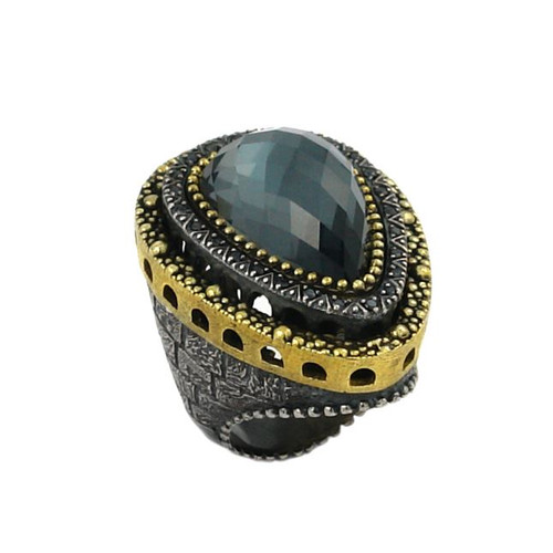 SIGNATURE AUTHENTICO COLLECTION HEMATITE RING WITH COPPER AND CZ ACCENTS