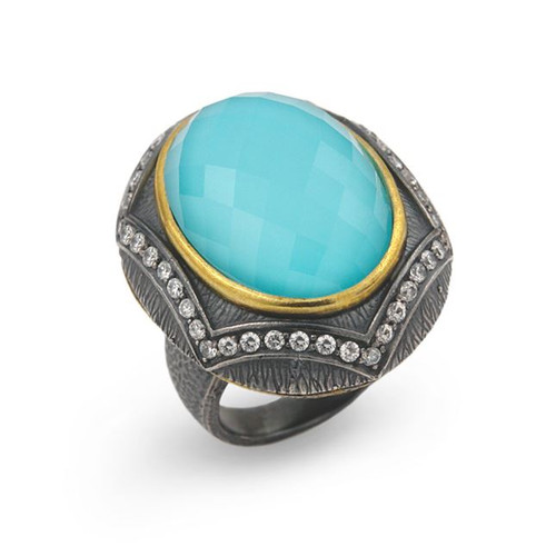 SIGNATURE AUTHENTICO TURQUOISE OVAL FACETED DEMIQUARTZ DOUBLET RING WITH SIGNITY CZ ACCENTS