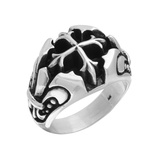 TWISTED BLADE SILVER RING WITH A FLEUR DE LIS SQUARE CROSS