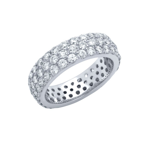 3 ROW ROUND CZ BAND RING