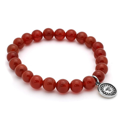 LADIES CARNELIAN CHAKRA STRETCH BRACELET WITH SILVER SUN CHARM