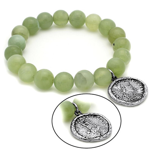 LADIES JADE CHAKRA STRETCH BRACELET WITH SILVER COIN CHARM