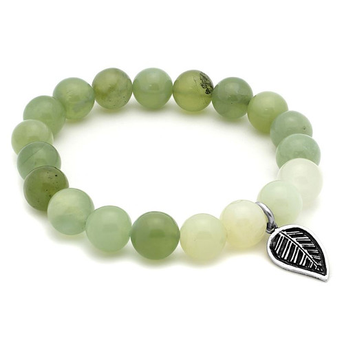 LADIES JADE CHAKRA STRETCH BRACELET WITH SILVER LEAF CHARM