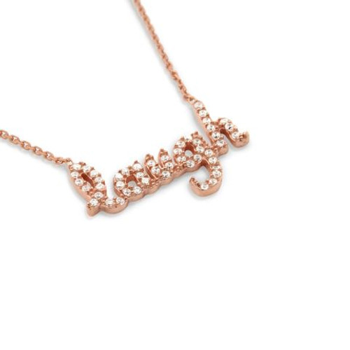 "ROSE GOLD PLATED CZ LAUGH NECKLACE 16""+1"" ADJUSTABLE"