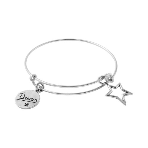 STERLING SILVER EXPANDABLE BANGLE WITH DREAM AND OUTLINE STAR CHARMS
