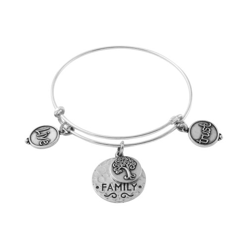 STERLING SILVER EXPANDABLE BANGLE WITH TREE, FAMILY, AND TRUST/LIVE CHARMS