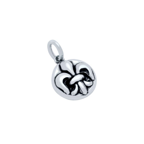 STERLING SILVER 12MM FLEUR DE LIS MEDALLION CHARM