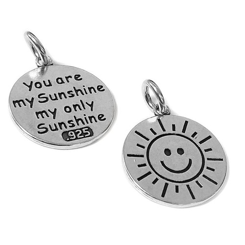 "STERLING SILVER ""YOU ARE MY SUNSHINE"" ROUND SUN CHARM"