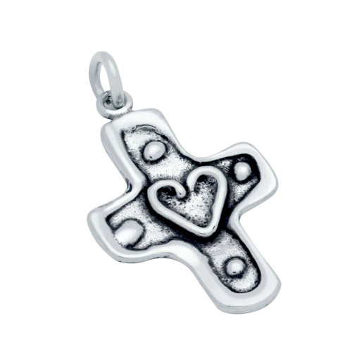 STERLING SILVER 19MM ABSTRACT CROSS