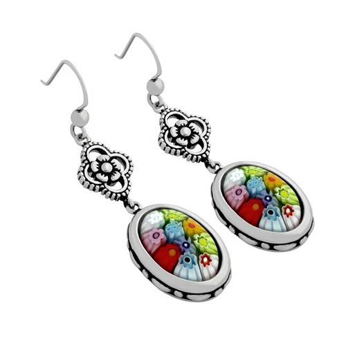 MULTICOLOR MURANO MILLEFIORI OVAL FISHHOOK DOUBLE DANGEL EARRINGS WITH ORNATE FLOWER DESIGN