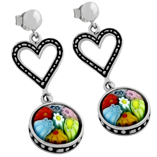 MULTICOLOR MURANO MILLEFIORI ROUND POST EARRINGS WITH CUTOUT HEART DESIGN