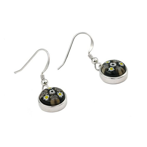 MURANO MILLEFIORI BLACK AND WHITE 10MM ROUND EARRINGS