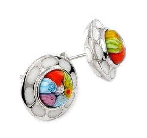 MILLACRELI MULTI COLOR FLOWER EARRINGS