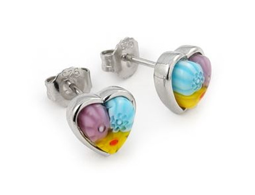 MULTICOLOR MURANO MILLEFIORI SMALL HEART EARRINGS