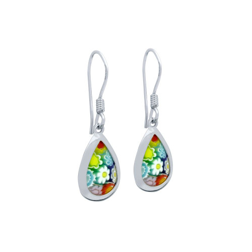 MULTICOLOR MURANO MILLEFIORI 10X15MM DROP SHAPE FISHHOOK EARRINGS