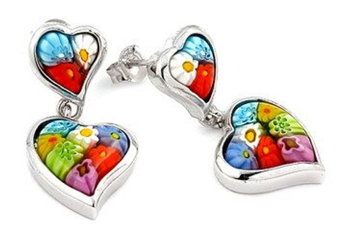 DOUBLE HEART MURANO MILLEFIORI EARRING