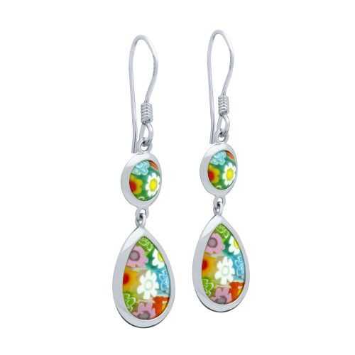 MULTICOLOR MURANO MILLEFIORI DOUBLE-SIDED DROP AND ROUND EARRINGS