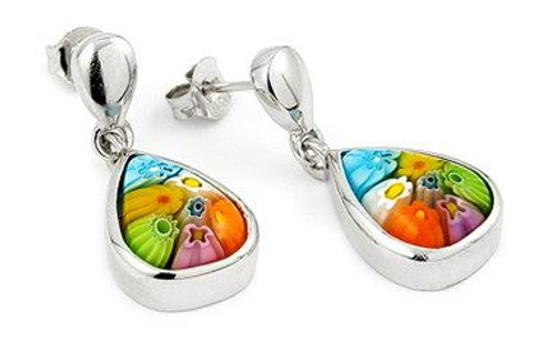 MULTI-COLOR MURANO MILLEFIORI DROP EARRING