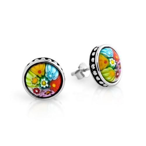 MULTICOLOR MURANO MILLEFIORI 10MM ROUND STUD EARRINGS WITH BEADED DESIGN