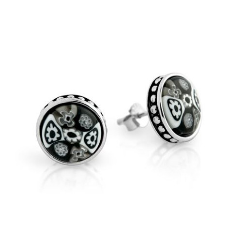 BLACK MURANO MILLEFIORI 10MM ROUND STUD EARRINGS WITH BEADED DESIGN