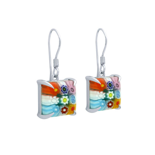 MULTICOLOR MURANO MILLEFIORI 10MM SQUARE FISHHOOK EARRINGS