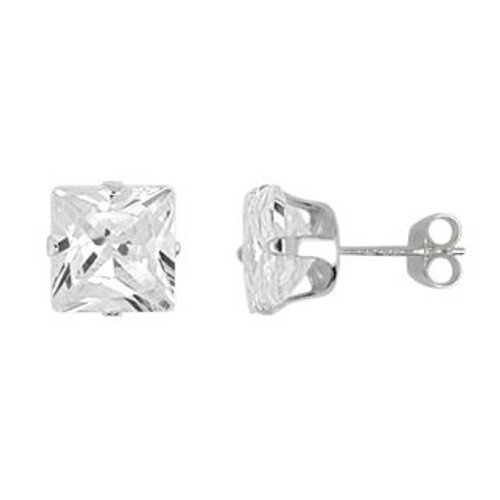 7X7MM SQUARE CZ STUD EARRINGS
