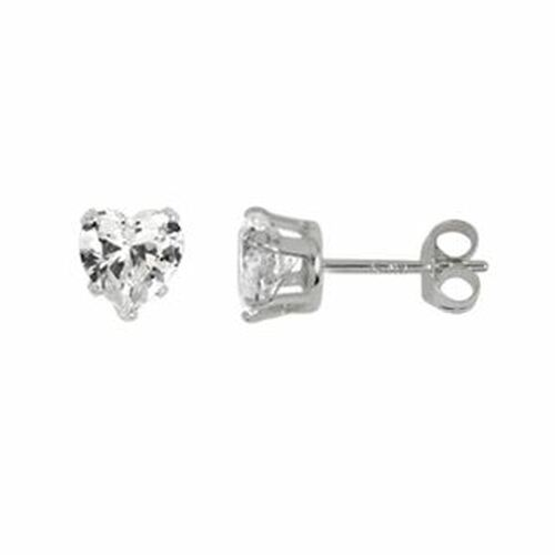 5MM HEART CZ STUD EARRINGS
