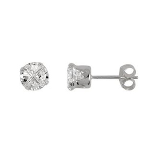 5MM ROUND INVISIBLE CZ STUD EARRINGS